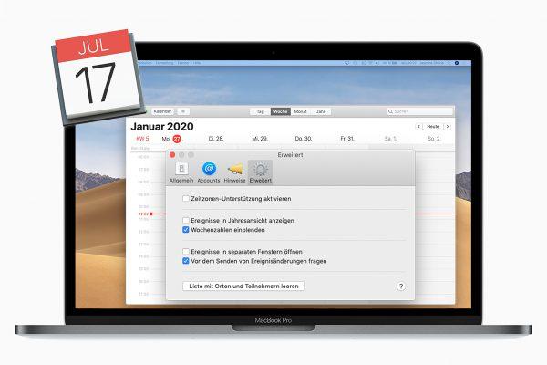 Kalenderwoche mac macOS einblenden