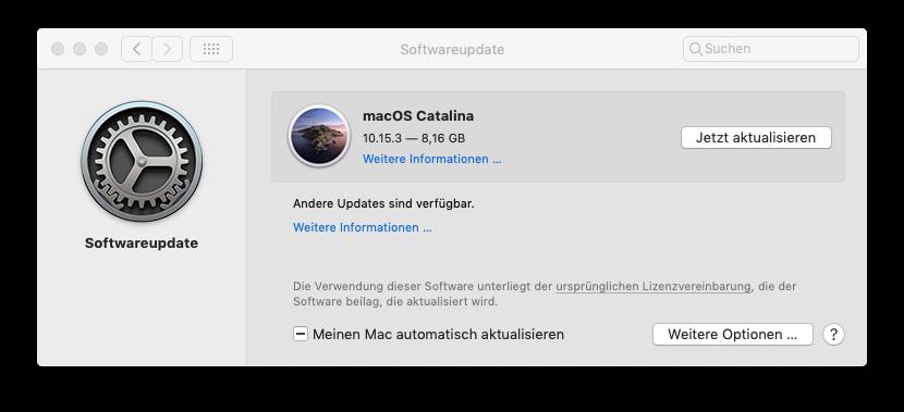 macOS Catalina installiere über Softwareupdate
