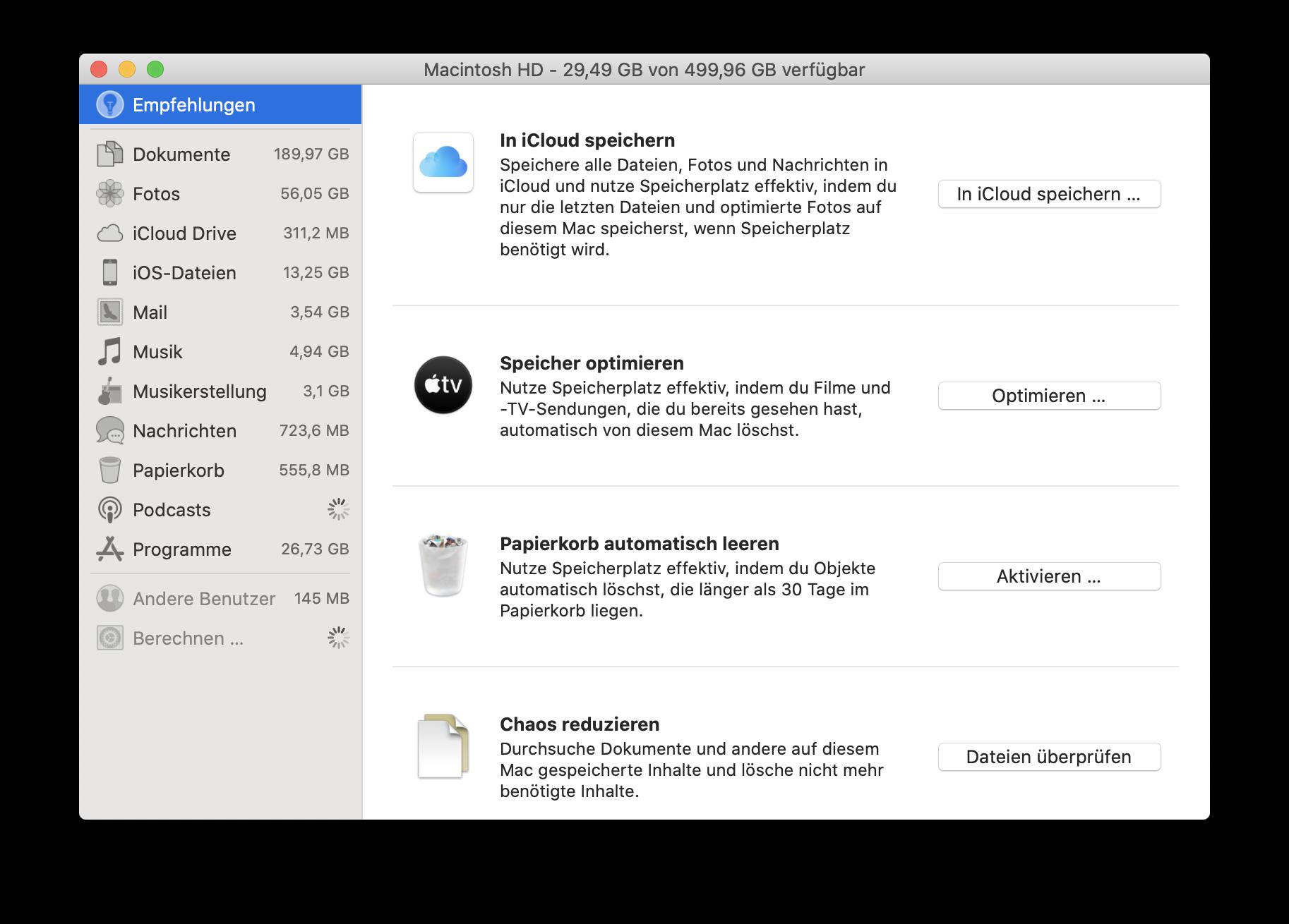 Festplatte aufräumen Mac